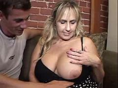 Elder woman sucks two cocks and has titsfuck