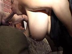 Mom gets cum on tits after hot sex in threesome
