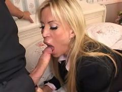 Longhair milf jumps on hard dick