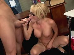 Cute milf gets facial after sex in classroom