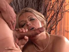 Hot blonde mature gets anal fuck