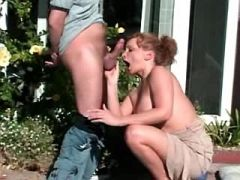 Hungry mom gets sperm on face outdoor