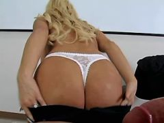 Cute blond milf gets fuck on table