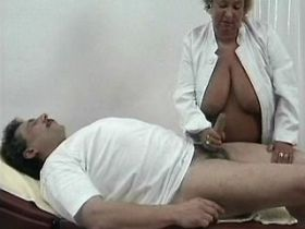 Fat granny jumps on cock and gets cumshot on big ass