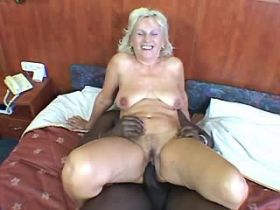 Granny has fuck with blacky and gets cumshot on tits