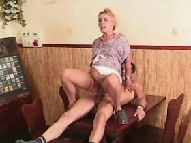 Lewd granny gets creampie after hard fuck on table
