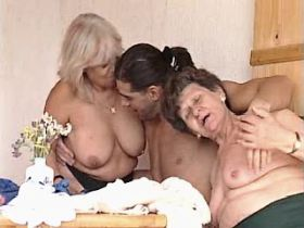 Two depraved grannies sucks and have hard fuck with guy