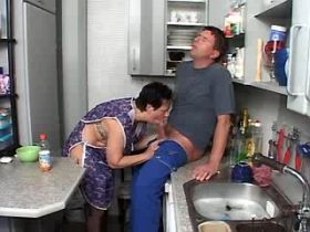 Granny does blowjob and fucks from behind in kitchen