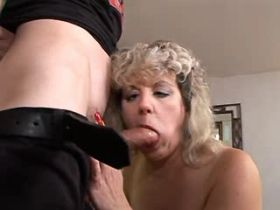 Old blonde mature sucks cock and gets hard fuck
