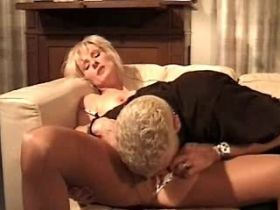 Blond elder mature has oral and fucks in threesome