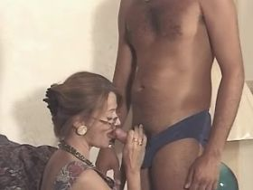 Elder hungry mature does blowjob and rides big cock