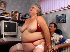 Old fat granny tastes cum after fuck from behind