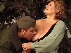 Granny does blowjob and has hot fuck with soldier