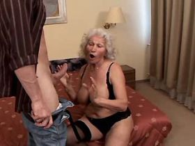 Hungry granny does blowjob and fucks from behind