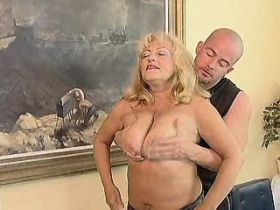 Blond chubby mature has oral and fucks from behind