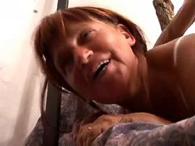 Granny fucks in doggy style and gets cum in mouth