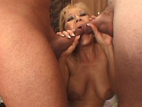 Two guys hard gangbanging blonde depraved  mature