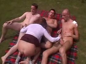 Three guys get blowjob and fuck hot mature outdoor