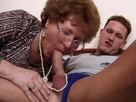 Chubby granny sucks big cock and fucks from behind