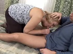 Chubby granny gets fucked from behind on big bed