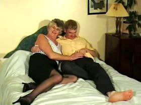 Young and old studs fuck and cum granny by turn