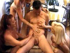 Three old bitches humiliate and screw tied guy