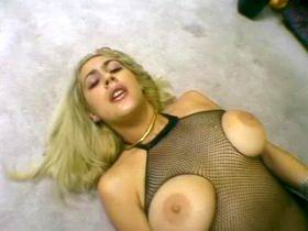 Oldman nails blonde slut in seducing fishnet wear