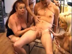 Three mature bitches torment and screw tied guy