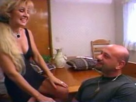 Fun loving blond mature shows here game with dildo