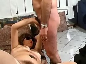 Mature sucks hairy dick in front of another guy