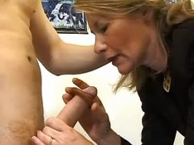 Old fart is fucked in the mouth with impressive dick