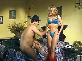Gorgeous blond milf in sexy lingerie seduces old guy