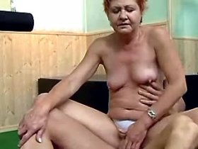 Lewd granny gets dick ride and finger in her wet cunt