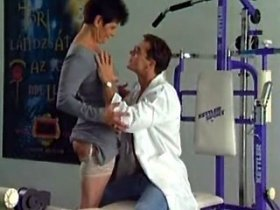Young doctor gives some licking to lewd old fart in gym