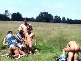 Three lewd horny grannies get nailed on the grass