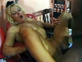 Horny busty mom enjoys young black dick in ass and cunt