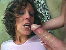 Dirty mom gets one dick in mouth and one in cunt