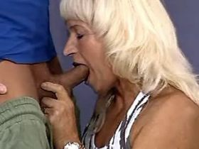 Blonde lustful mature fucking in gym in all poses
