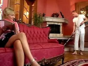 Blonde mature has hard fuck in all poses on sofa