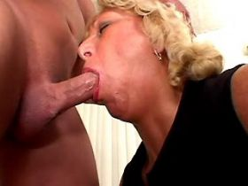 Blonde mature gets abundant facial after anal fuck