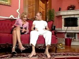 Man deep drilling hot blonde mature in hotel suite
