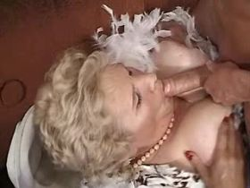 Aged lewd mature gets titsfuck and big dildo in cunt