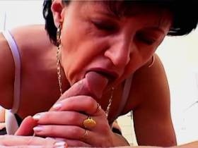 Brunette mature fucking with guy and getting facial