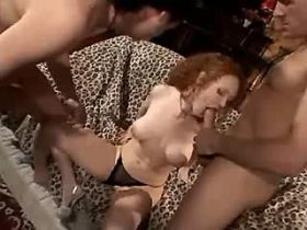 Cute redhead milf fucking in all holes in gandbang