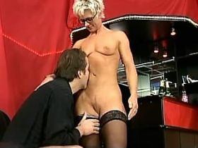 Blonde lady in stockings sucks and fucks from behind
