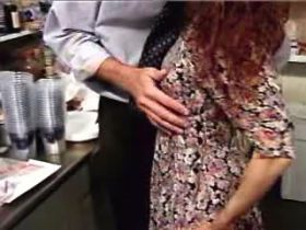 Depraved mature sucks cock and fucks in kitchen