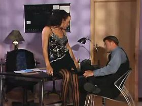 Mature sucks and fucks from behind on office table