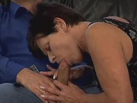 Brunette hot granny fucks on floor and gets facial