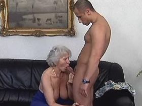 Hot granny fucks from behind and gets cumshot on ass