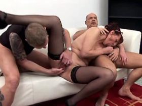 Aged mature fucking in hard orgy and getting facials